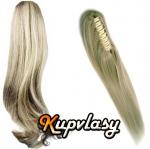 Clip culík na skřipci rovný - melír popelavě-beach blond #60/16