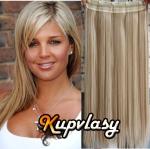 Clip in 100% lidský pás 61 cm - melír popelavě-beach blond #60/16