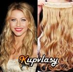 Clip in 100% lidský vlnitý pás 51 cm - přírodní blond #22