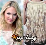 Clip in 100% lidský vlnitý pás 61 cm - melír popelavě-beach blond #60/16