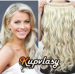 Clip in 100% lidský vlnitý pás 61 cm - platinová blond #60