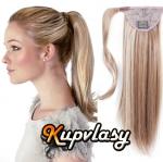 Clip in 100% lidský culík 50cm - melír popelavě-beach blond #60/16
