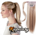 Clip in 100% lidský culík 60cm - melír popelavě-beach blond #60/16