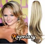Clip in 100% lidský culík vlnitý 50cm - melír popelavě-beach blond #60/16