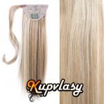 Clip in kanekalonový cop rovný - melír popelavě-beach blond #60/16