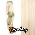 Clip in kanekalonový cop vlnitý - platinová blond #60