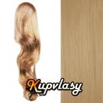 Clip in kanekalonový cop vlnitý - melír přírodní světlejší blond #18/22