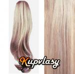 Clip in kanekalonový cop vlnitý - melír popelavě-beach blond #60/16