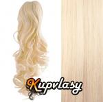 Clip in kanekalonový cop kudrnatý - platinová blond #60