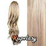 Clip in kanekalonový cop kudrnatý - melír popelavě-beach blond #60/16