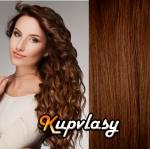 Clip in kudnaté vlasy 51 cm, 100 g - světlejší hnědá #6