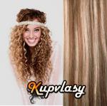Clip in kudrnaté vlasy 51 cm, 100 g - světlý melír #12/613