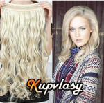 Clip in pás z kanekalonu 61 cm vlnitý - platinová blond #60
