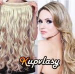 Clip in pás z kanekalonu 61 cm vlnitý - melír popelavě-beach blond #60/16