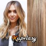 Clip in vlasy 38 cm, 105 g - světlý melír #12/613