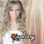Clip in kudrnaté vlasy 51 cm, 100 g - melír popelavě-beach blond #60/16