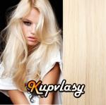 Clip in vlasy 51 cm, 100 g - platinová blond #60