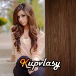 Clip in vlnité vlasy 51 cm, 100 g - světlejší hnědá #6