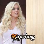 Clip in vlnité vlasy 51 cm, 100 g - platinová blond #60