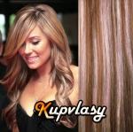 Clip in vlnité vlasy 51 cm, 100 g - světlý melír #12/613
