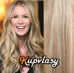 Clip in vlnité vlasy 51 cm, 100 g - melír popelavě-beach blond #60/16