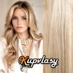 DELUXE cip in vlasy 71 cm, 280 g - melír popelavě-beach blond #60/16