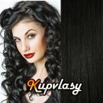DELUXE clip in kudrnaté vlasy 51 cm, 200 g - uhlově černá #1