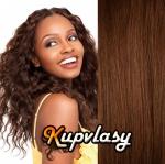 DELUXE clip in kudnaté vlasy 51 cm, 200 g - světlejší hnědá #6