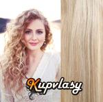 DELUXE clip in kudrnaté vlasy 51 cm, 200 g - melír popelavě-beach blond #60/16
