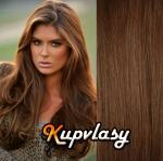 DELUXE clip in vlasy 41 cm, 140 g - světlejší hnědá #6