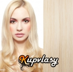DELUXE clip in vlasy 41 cm, 140 g - platinová blond #60