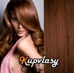 DELUXE clip in vlasy 51 cm, 200 g - světlejší hnědá #6
