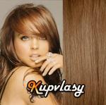 DELUXE clip in vlasy 51 cm, 200 g - nejsvětlejší hnědá #12