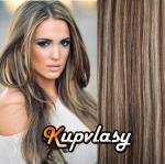 DELUXE clip in vlasy 61 cm, 240 g - tmavý melír #4/27