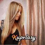 DELUXE clip in vlasy 61 cm, 240 g - světlý melír #12/613