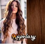 DELUXE clip in vlnité vlasy 51 cm, 200 g - světlejší hnědá #6