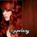 DELUXE clip in vlnité vlasy 51 cm, 200 g - měděná #350