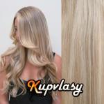 DELUXE clip in vlnité vlasy 51 cm, 200 g - melír popelavě-beach blond #60/16