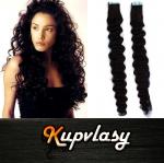 Kudrnaté Tape in vlasy k prodloužení 60cm - uhlově černá #1