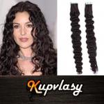 Kudrnaté Tape in vlasy k prodloužení 60cm - přírodní černá #1b