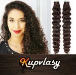 Kudrnaté Tape in vlasy k prodloužení 60cm - tmavě hnědá #2