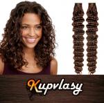 Kudrnaté Tape in vlasy k prodloužení 60cm - čokoládově hnědá #4