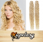 Kudrnaté Tape in vlasy k prodloužení 60cm - beach blond #613