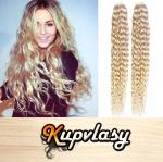 Kudrnaté Tape in vlasy k prodloužení 60cm - platinová blond #60
