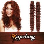 Kudrnaté Tape in vlasy k prodloužení 60cm - měděná #350