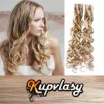 Kudrnaté Tape in vlasy k prodloužení 60cm - melír popelavě-beach blond #60/16