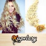 Kudrnaté vlasy na metodu keratin 50cm 0,5g - platinová blond #60