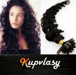 Kudrnaté vlasy na metodu keratin 50cm 0,7g - uhlově černá #1