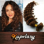 Kudrnaté vlasy na metodu keratin 50cm 0,7g - světlejší hnědá #6