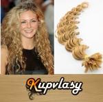 Kudrnaté vlasy na metodu keratin 50cm 0,7g - přírodní blond #22